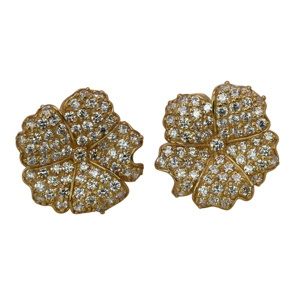 SS & CZ Lotus Flower Omega Back Earrings