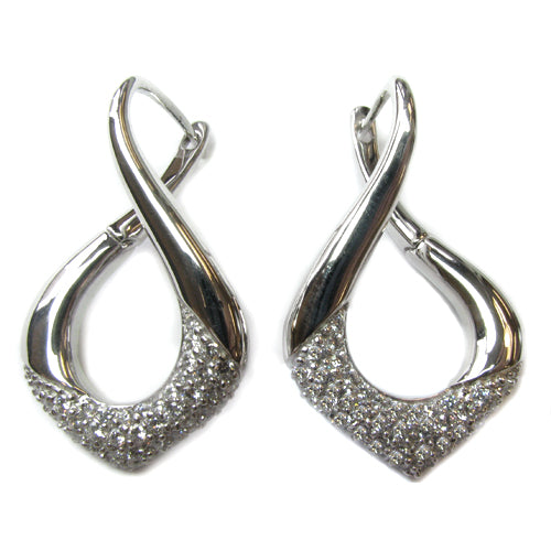Plated SS & Cz Twist Earrings