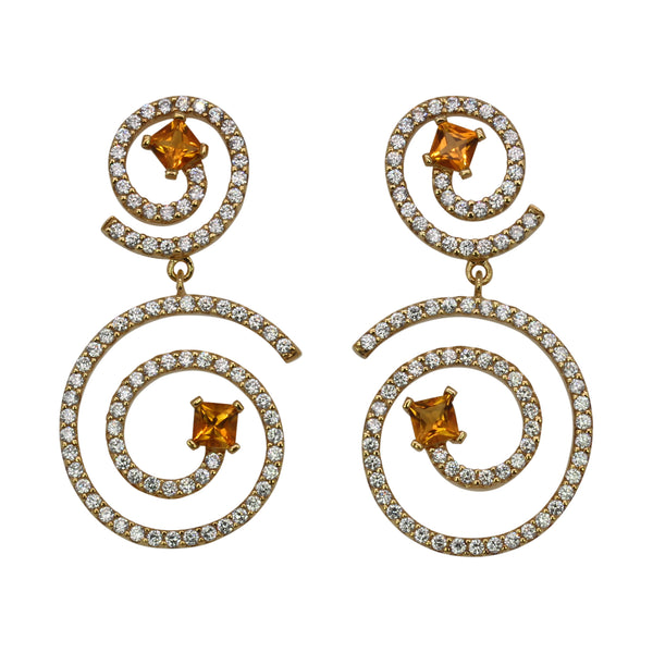 SS Citrine & CZ Shooting Star Earrings