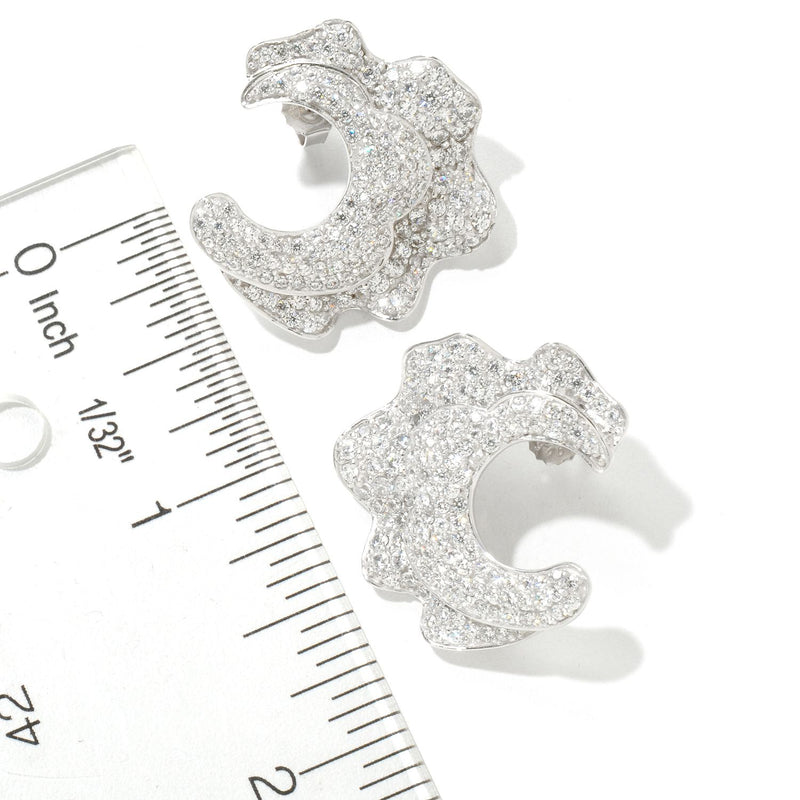 SS 1'' CZ Floral Ruffle Cuff Earrings