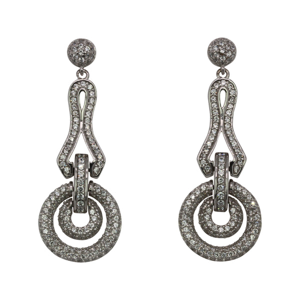 SS & CZ Dangling Drop Earrings