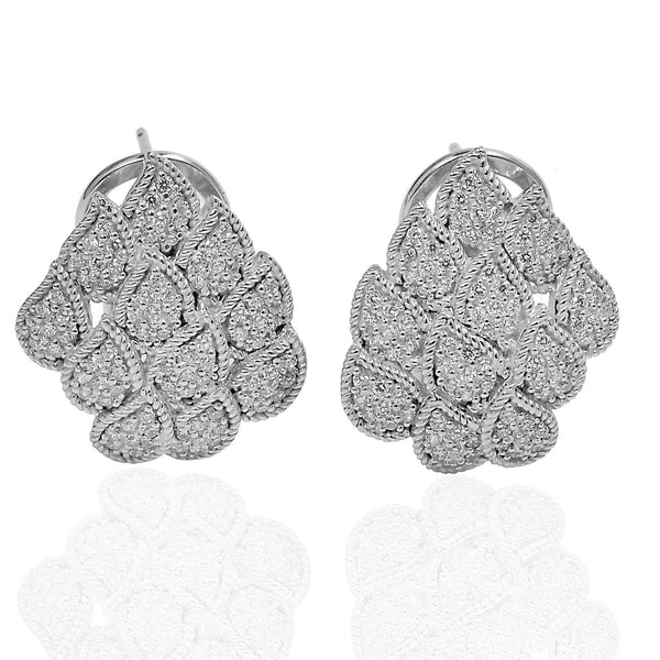Plated Sterling Silver & Cz Earrings