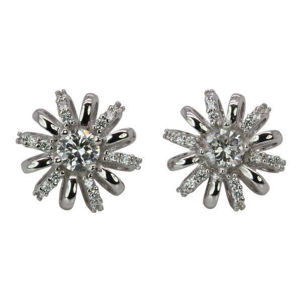 SS & CZ Flower Burst Earrings