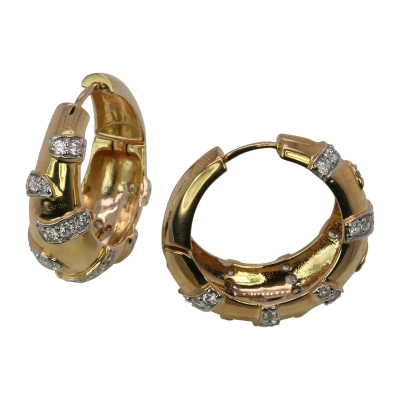 SS & CZ Two Tone Hoop Earrings