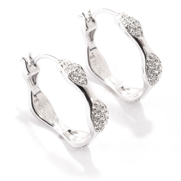 Plated SS Wave Pave Station Huggie Earrings