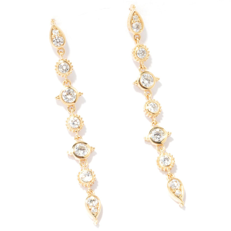 Gold Plated Sterling Silver & Cz Round & Teardrop Fancy Earrings