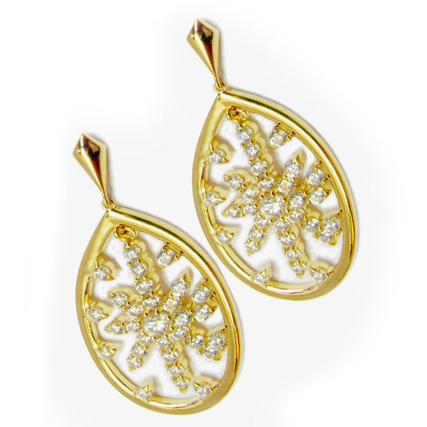 Plated SS & CZ Star Drop Earrings