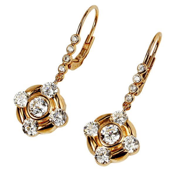 Plated SS & Cz Round Drop Earrings