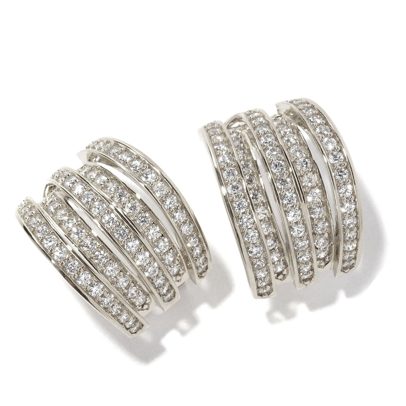 Plated SS & Cz Multi-level Earrings