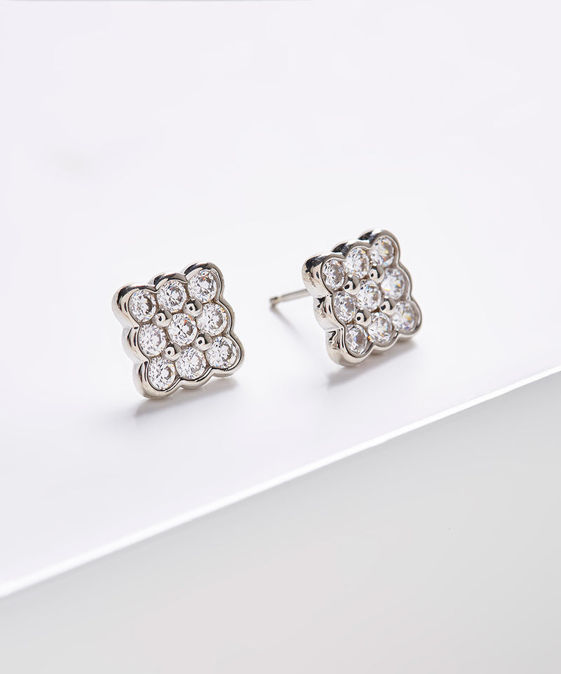 Plated SS & Cz Round Cut Bezel Square Earrings