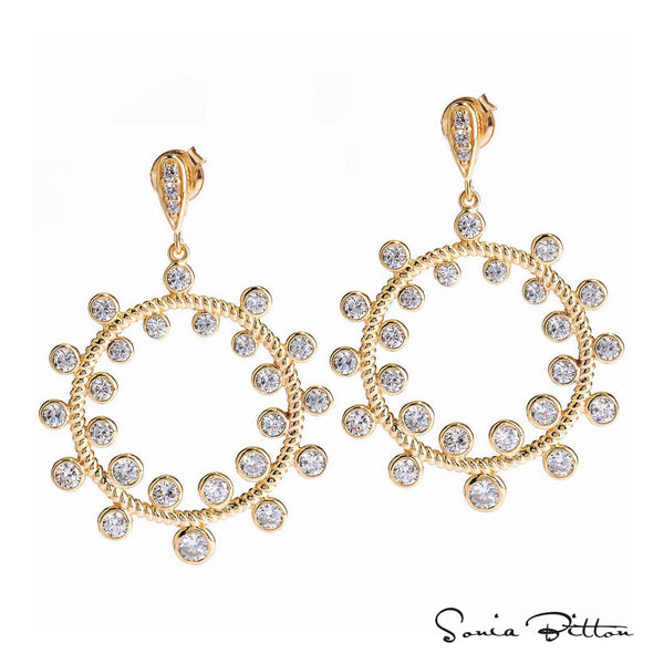 Plated SS & Cz Rope Circle Earrings