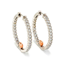 Plated SS Two Tone CZ Hoop and Heart Earrings