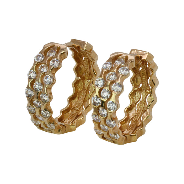 SS Tension Set Huggie Hoop Earrings