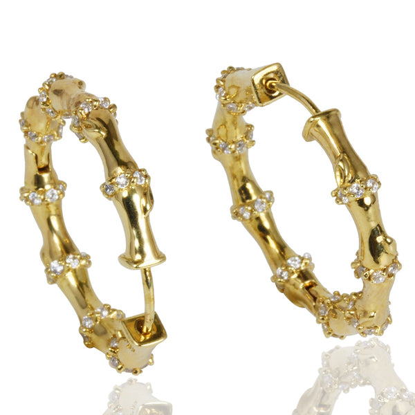 Plated SS & Cz Bamboo Hoop Earrings