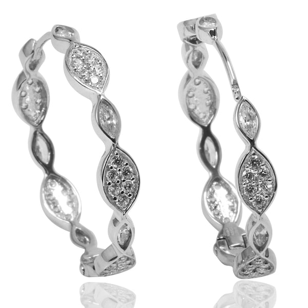 Plated SS & Cz Marquise & Pave Earrings