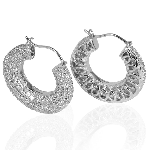 Plated SS Four Milgrain Hoop Earrings