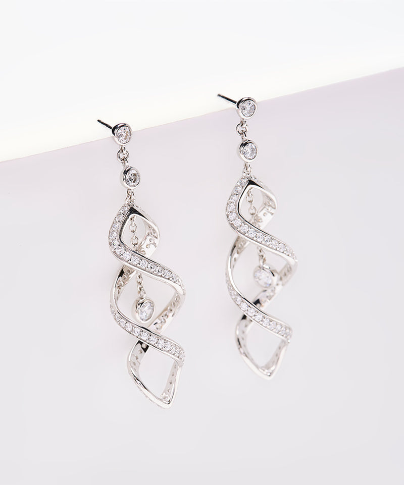 Plated SS & Cz Double Twirl Earrings