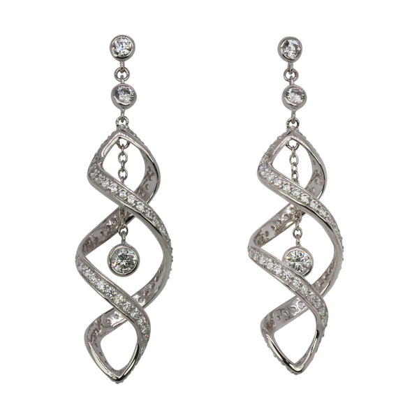 SS & CZ Double Twirl Earrings