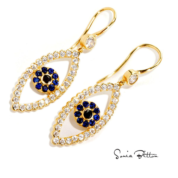 Plated SS & Cz Evil Eye Earrings