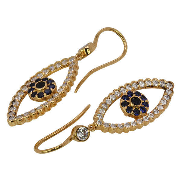 SS & CZ Evil Eye Earrings