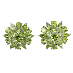 SS & Peridot Cluster Stud Earrings