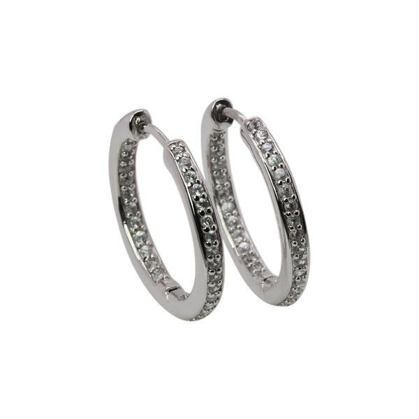 SS White Zircon Inside Out Hoop Earrings