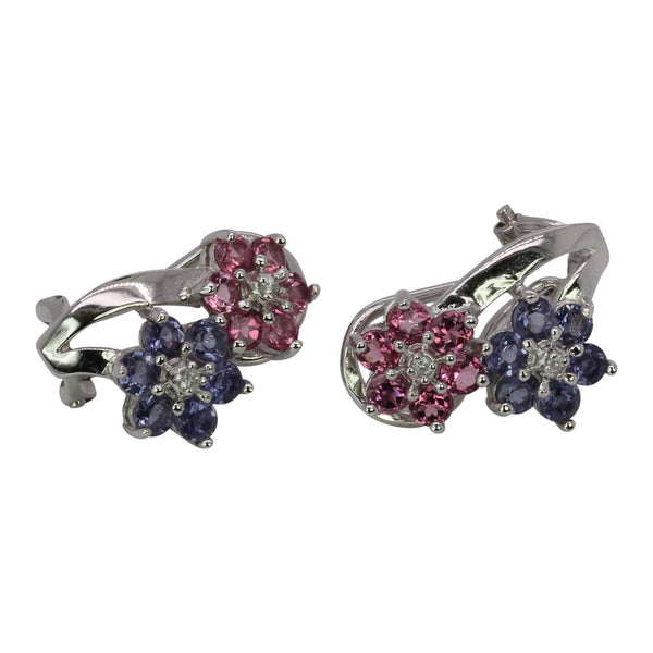 SS Pink Tourmaline & Iolite Floral Earrings