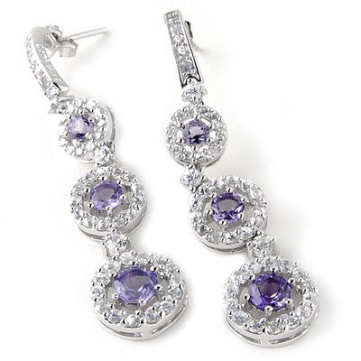 Plated SS Amethyst & White Zircon Earrings
