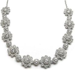 Platinum Plated SS & Cz Flower Necklace