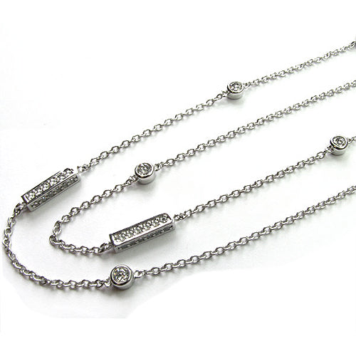 "SS & CZ 36"" Station Necklace"