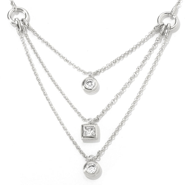 Platinum Plated SS & Cz Three Layered Necklace