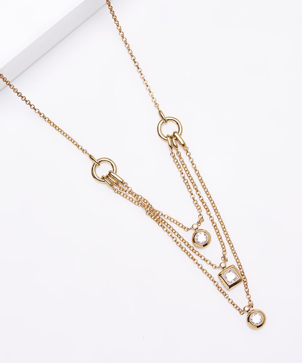 Plated SS & Cz Three Layered Necklace