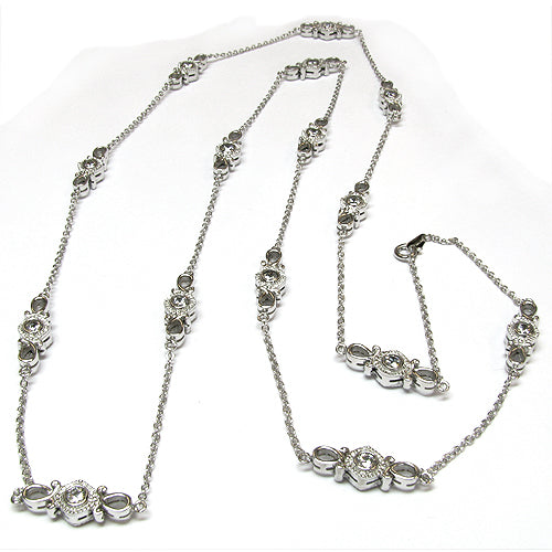 SS & CZ Infinity Scroll Station Necklace