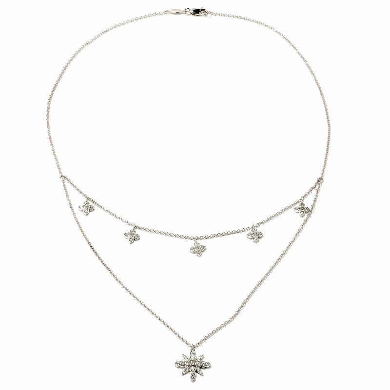 Plated SS & Cz Double Strand Flower Necklace