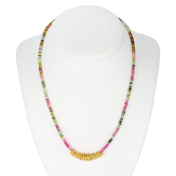 Plated SS Multi-color Tourmaline Bead Necklace