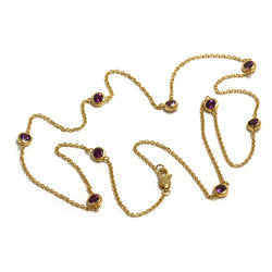 SS Purple Garnet Station Necklace