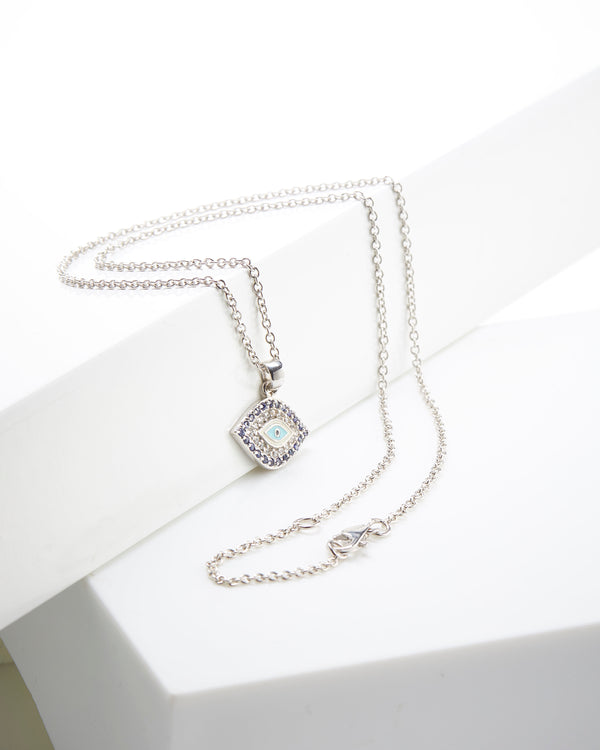 SS & CZ Evil Eye Pendant Necklace