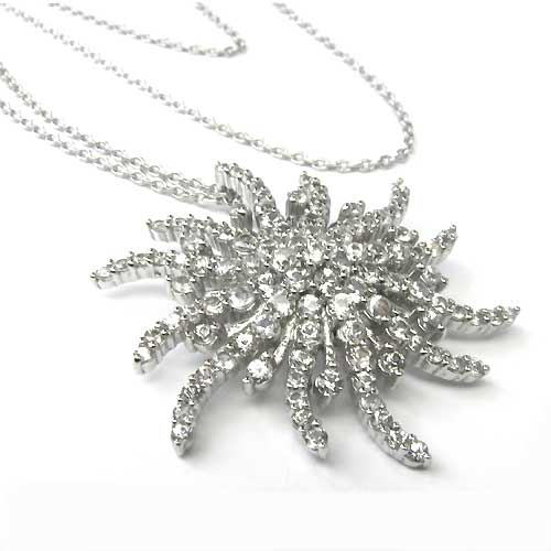 Plated Sterling Silver 1 1/4'' Burst Necklace