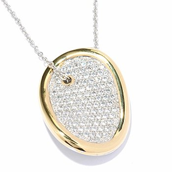 SS & Pave CZ Wave Oval Disc Pendant Necklace