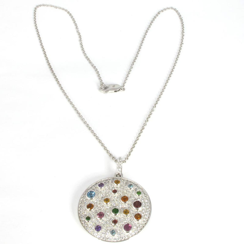 Plated SS Multi-colored Disk Pendant Necklace
