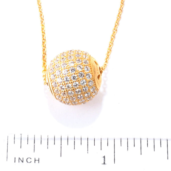 Plated SS & Cz Pave Medium Roundel Necklace