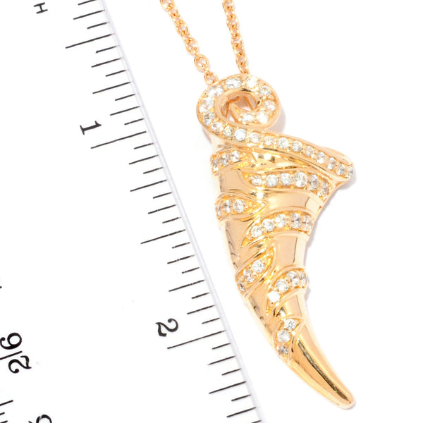 Plated SS & Cz Tigers Tooth Pendant Necklace