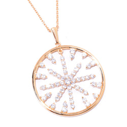 Plated SS & Cz Round Cut Starburst Pendant Necklace