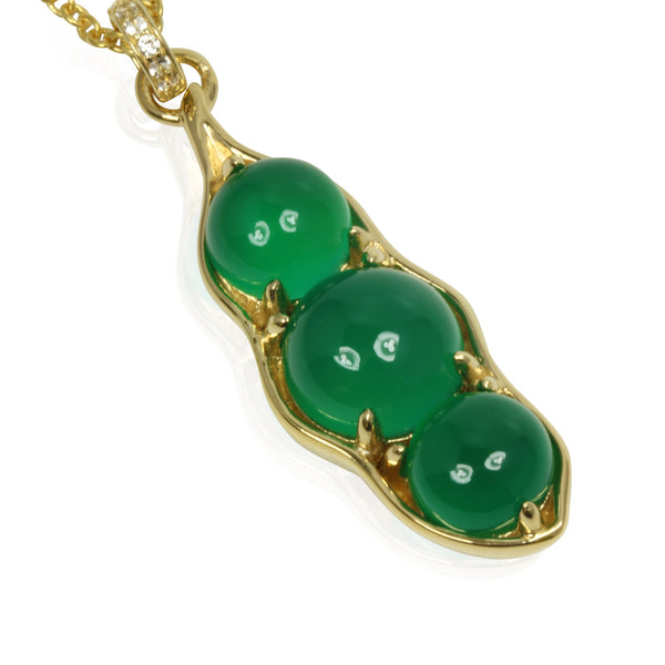 Plated SS Green Onyx Pea Pod Pendant Necklace