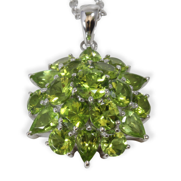 Sterling Silver Peridot Large Cluster Pendant Necklace