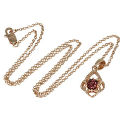 Plated SS Rose Zircon Pendant Necklace