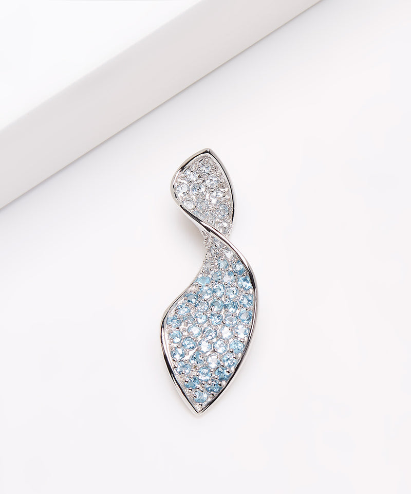 Platinum Plated Sterling Silver Blue Topaz Pendant