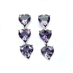 Rhodium Plated Ss 1 1/8'' Heart Cut Amethyst Drop Earrings