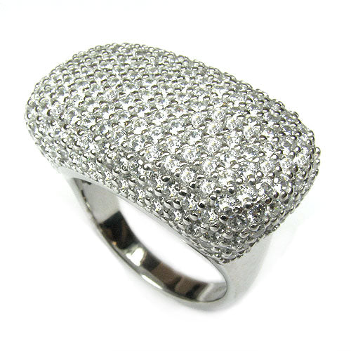 SS & CZ Rectangular Pave Ring