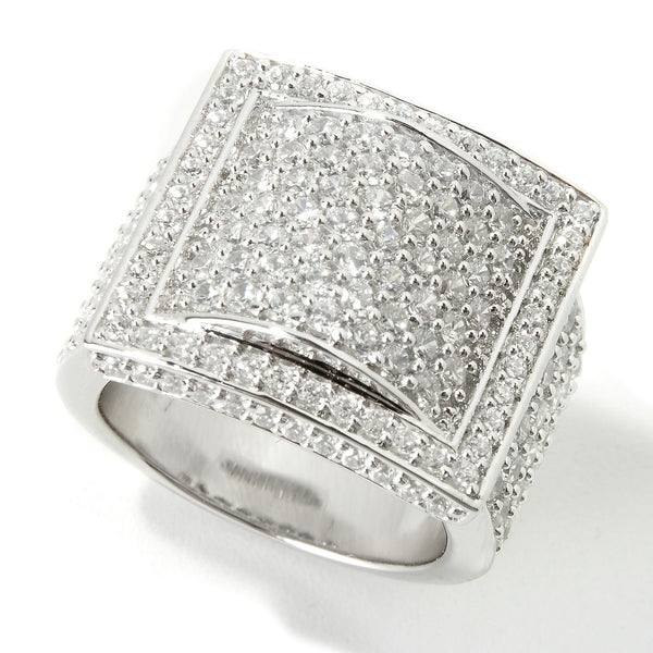 Plated SS & Cz Pave Buckle Ring